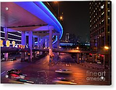 Colorful Night Traffic Scene In Shanghai China Acrylic Print