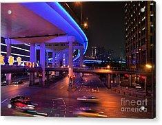 Colorful Night Traffic Scene In Shanghai China Acrylic Print by Imran Ahmed