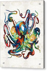 Colorful Octopus Art By Sharon Cummings Acrylic Print by Sharon Cummings