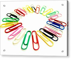 Colorful Office Clips Arranged In A Circle In A White Background Acrylic Print by Blanchi Costela