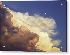 Colorful Orange Magenta Storm Clouds Moon At Sunset Acrylic Print by Keith Webber Jr