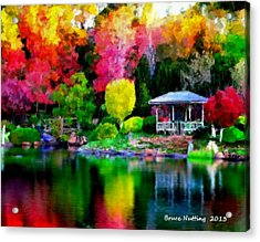 Acrylic Print featuring the painting Colorful Park At The Lake by Bruce Nutting