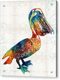Colorful Pelican Art 2 By Sharon Cummings Acrylic Print