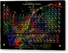 Colorful Periodic Table Of The Elements On Black With Water Splash Acrylic Print by Eti Reid