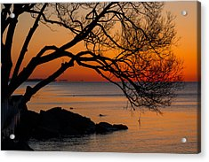 Colorful Quiet Sunrise On Lake Ontario In Toronto Acrylic Print