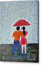 Colorful Rain Acrylic Print by Jnana Finearts