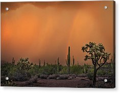 Colorful Rainbow With Dust Storm At Lost Dutchman State Park  Acrylic Print