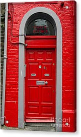 Colorful Red Door On Red Wall Acrylic Print by RicardMN Photography