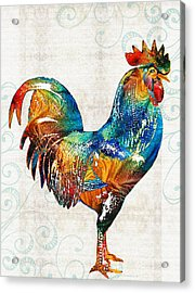 Colorful Rooster Art By Sharon Cummings Acrylic Print by Sharon Cummings