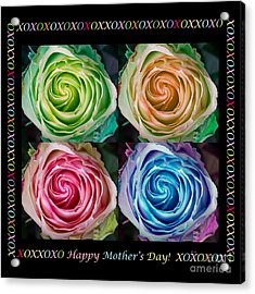 Colorful Rose Spirals Happy Mothers Day Hugs And Kissed Acrylic Print by James BO  Insogna