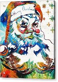 Colorful Santa Art By Sharon Cummings Acrylic Print