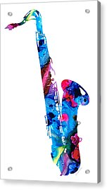 Colorful Saxophone 2 By Sharon Cummings Acrylic Print by Sharon Cummings