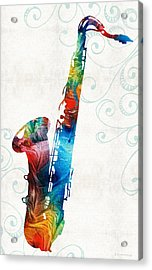 Colorful Saxophone 3 By Sharon Cummings Acrylic Print by Sharon Cummings