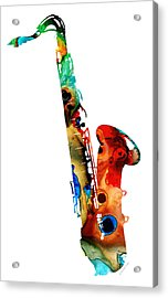 Colorful Saxophone By Sharon Cummings Acrylic Print by Sharon Cummings
