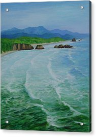 Colorful Seascape Oregon Cannon Beach Ecola Landscape Art Painting Acrylic Print