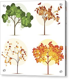Colorful Seasonal Trees Acrylic Print by Calvindexter