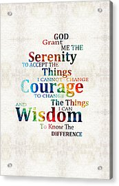 Colorful Serenity Prayer By Sharon Cummings Acrylic Print by Sharon Cummings