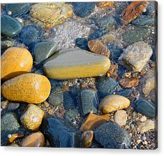 Colorful Shore Rocks Acrylic Print by Mary Bedy
