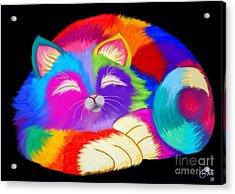 Colorful Sleeping Rainbow Cat Acrylic Print by Nick Gustafson