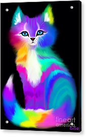 Colorful Striped Rainbow Cat Acrylic Print