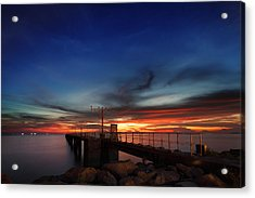 Acrylic Print featuring the photograph Colorful Sunset At Hong Kong Airport by Afrison Ma