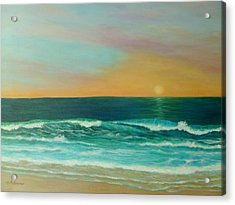 Colorful Sunset Beach Paintings Acrylic Print