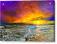 Acrylic Print featuring the photograph Colorful Sunset In Destin Beach Florida With Red Clouds by eSzra