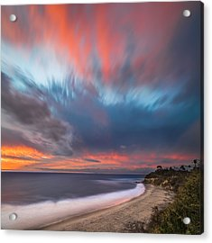 Colorful Swamis Sunset - Square Acrylic Print by Larry Marshall