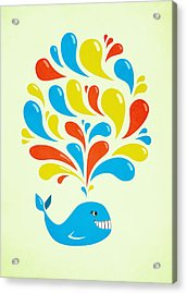 Colorful Swirls Happy Cartoon Whale Acrylic Print
