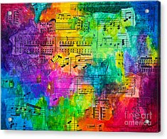 Acrylic Print featuring the mixed media Colorful Symphony by Melissa Sherbon