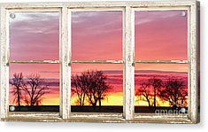 Colorful Tree Lined Horizon White Barn Picture Window Frame  Acrylic Print