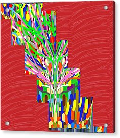 Acrylic Print featuring the photograph Colorful Tree Of Life Abstract Red Sparkle Base by Navin Joshi