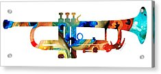 Colorful Trumpet Art By Sharon Cummings Acrylic Print by Sharon Cummings