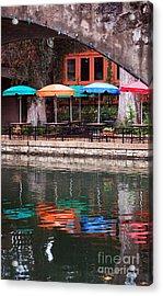 Colorful Umbrellas Reflected In Riverwalk Under Footbridge San Antonio Texas Vertical Format Acrylic Print