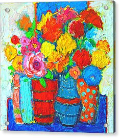 Colorful Vases And Flowers - Abstract Expressionist Painting Acrylic Print