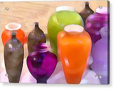 Colorful Vases I - Still Life Acrylic Print by Ben and Raisa Gertsberg
