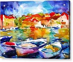 Colorful Watercolor Boats European Water Scape Acrylic Print by Svetlana Novikova