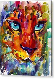 Colorful Watercolor Leopard Painting Acrylic Print by Svetlana Novikova