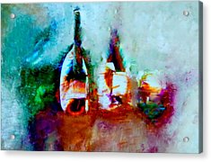 Acrylic Print featuring the painting Colorful Wine Serenade by Lisa Kaiser