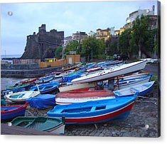 Colorful Wooden Fishing Boats Of Aci Castello Sicily With 11th Century Norman Castle Acrylic Print by Jeff at JSJ Photography