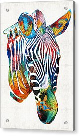 Colorful Zebra Face By Sharon Cummings Acrylic Print by Sharon Cummings