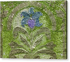 Colorized Moss Covered Gravestone  Acrylic Print by Jean Noren