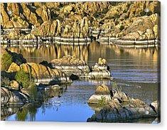 Colors In The Rocks At Watsons Lake Arizona Acrylic Print by James Steele