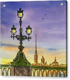Colors Of Russia Bridge Light In Saint Petersburg Acrylic Print