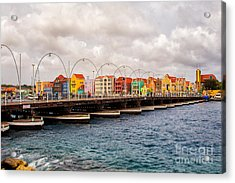 Colors Of Willemstad Curacao And The Foot Bridge To The City Acrylic Print