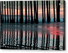 Acrylic Print featuring the photograph Reflections Under The Pier - Pismo Beach California by Gregory Ballos