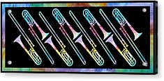 Colorwashed Trombones Acrylic Print by Jenny Armitage