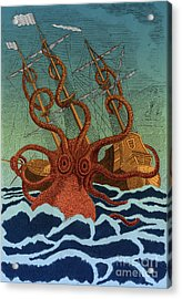 Colossal Octopus Attacking Ship 1801 Acrylic Print by Science Source
