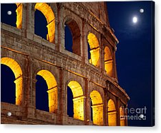 Colosseum And Moon Acrylic Print by Inge Johnsson