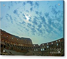 Acrylic Print featuring the photograph Colosseum At Dusk - Rome by Cheryl Del Toro